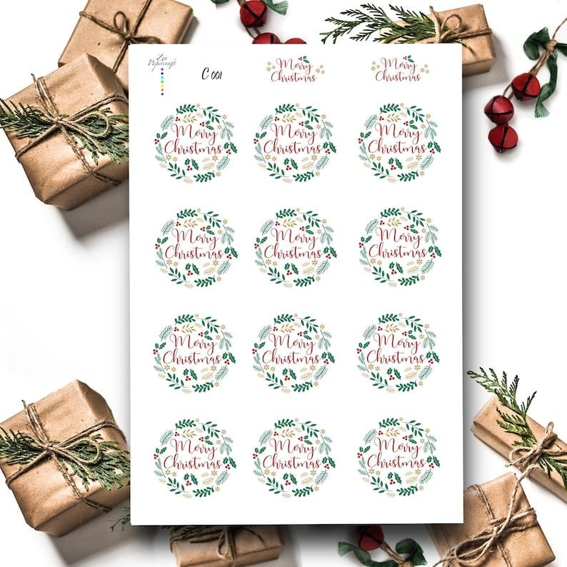 C001 Merry Christmas Wreath Stickers Kiss Cut