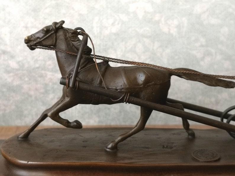 Reins for Horses Winter Sleigh Sleigh and horse Horse and Cart Sculpture Horse sleigh Vintage Bronze Sculpture Interior Sculpture