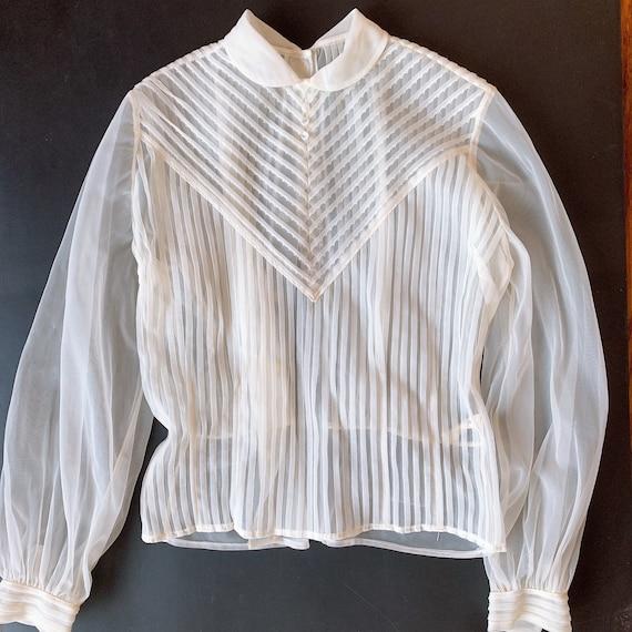 Vintage 1950s Sheer Chiffon White Blouse