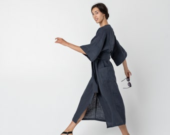 Linen Kimono robe dress, Linen dress, Long Linen dress, Women dress | MEZO