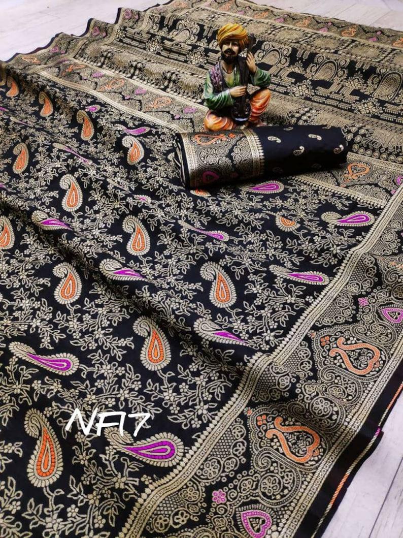black saree Soft lichi silk saree and blouse for women,saree dress,indian saree,designer saree,wedding saree,traditional saree sari,saris