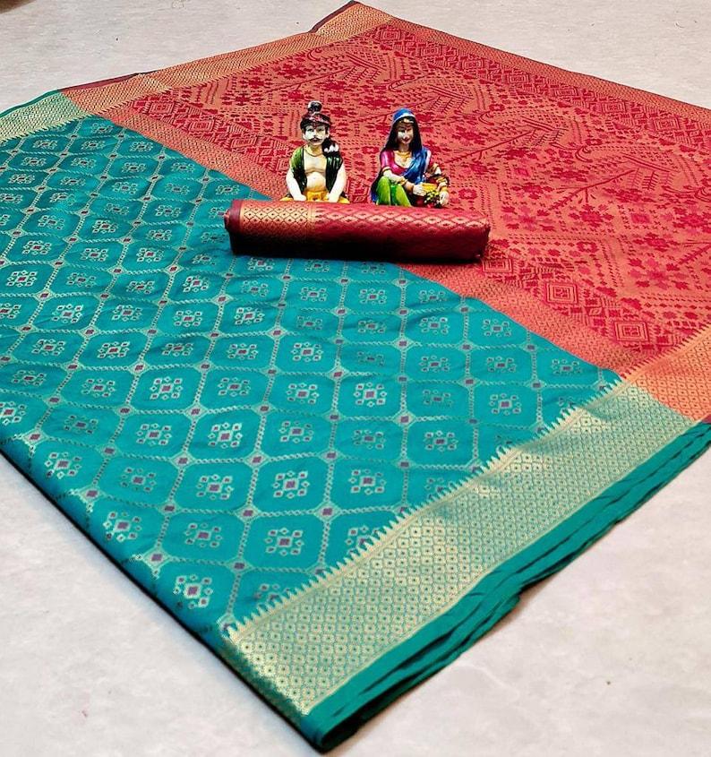 Patola silk weaving jacquard saree with blouse for women Saree,saree for women,Saree dress,wedding saree,Indian saree,sari,blue saree