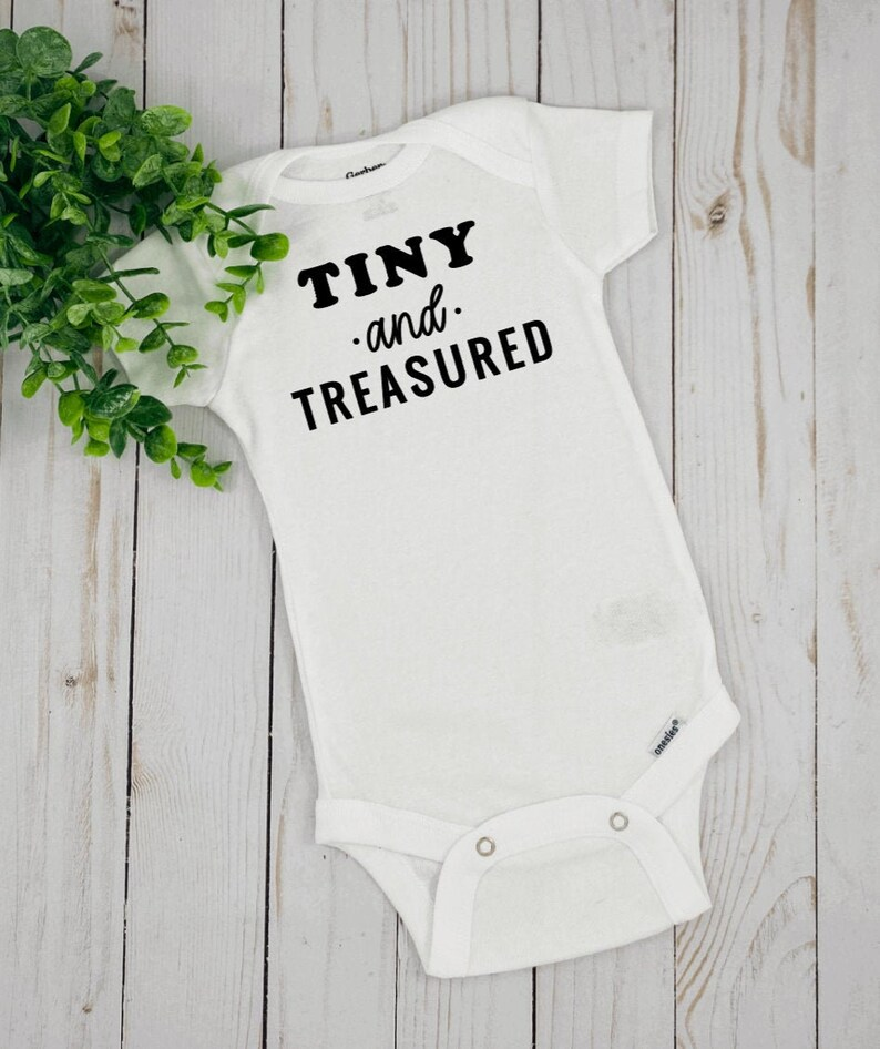 Newborn Gift Infant Outfit Baby Shower Gift Tiny And Treasured Baby Onesie