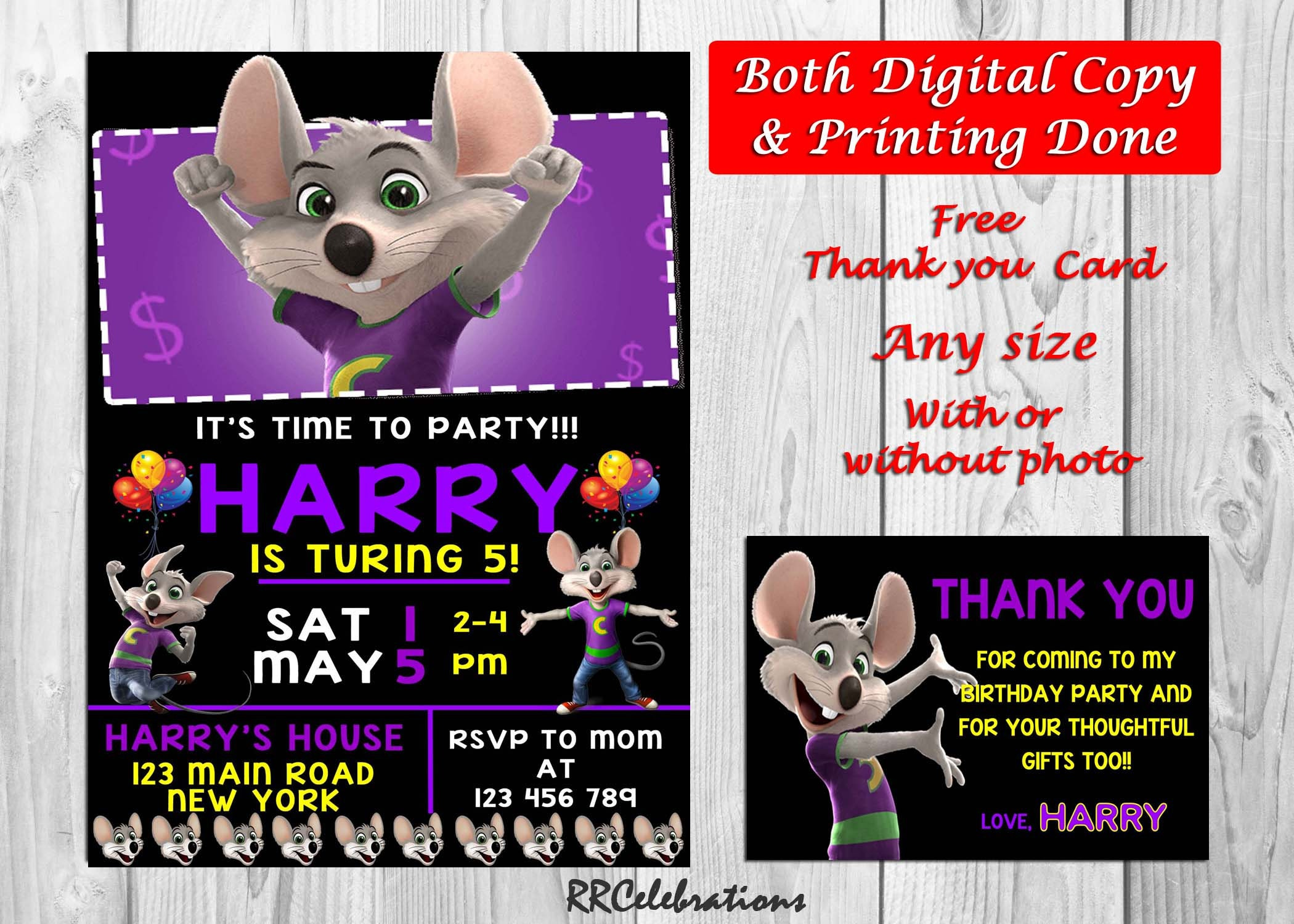 Chuck E Cheese Birthday Photo Invitations Chuck E Cheese Invites Chuck E Cheese Printed Invite Free Thank You Card Final Copy Within 24hrs
