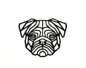 3D Pug head / wall decoration / 3d art / eyecatcher for the living room / Geometric style / Geometric animal / Low Poly / Mopsdog