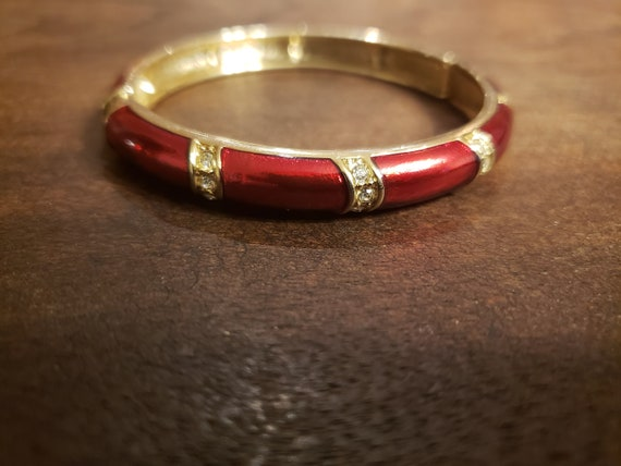 Brass Casing Vintage Apple Coral Inlay Bangle Hippie Boho Style
