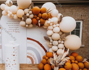 Ins Balloons Arch Wedding Decorations Double Orange Cream Peach Latex Balloon Garland Bride To Be Anniversary Party Decor Supplies