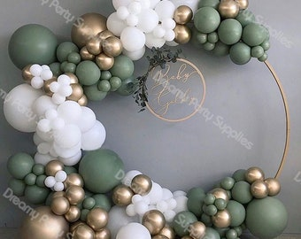 137pcs Baby Shower Balloon Garland Arch Kit 12Ft Retro Green White Gold Latex Air Balloons Pack for Birthday Party Decor Supplies