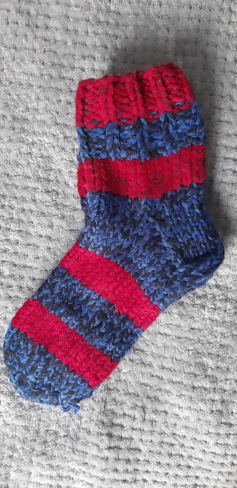 Size 39 eu 8 us Socks handknitted from natural wool and repurposed recycled yarn Warm socks 25 cm Winter socks Granny socks