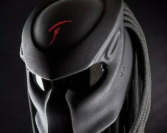 Custom The Predator Helmet Black Alien Top Red TT For Motorcycle Approved DOT & ECE