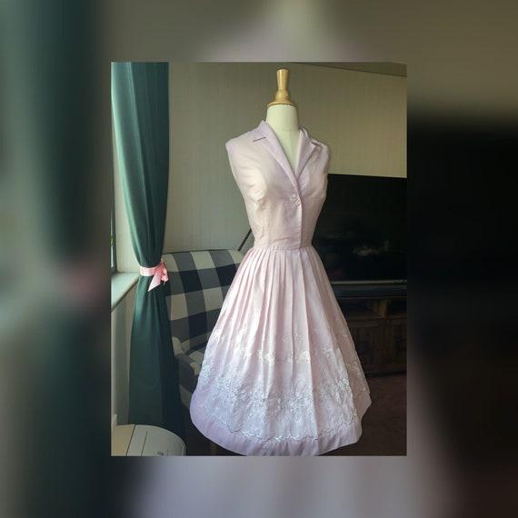1950s Lilac Lavender Dress, 50s Lace Dress, 50s Pu