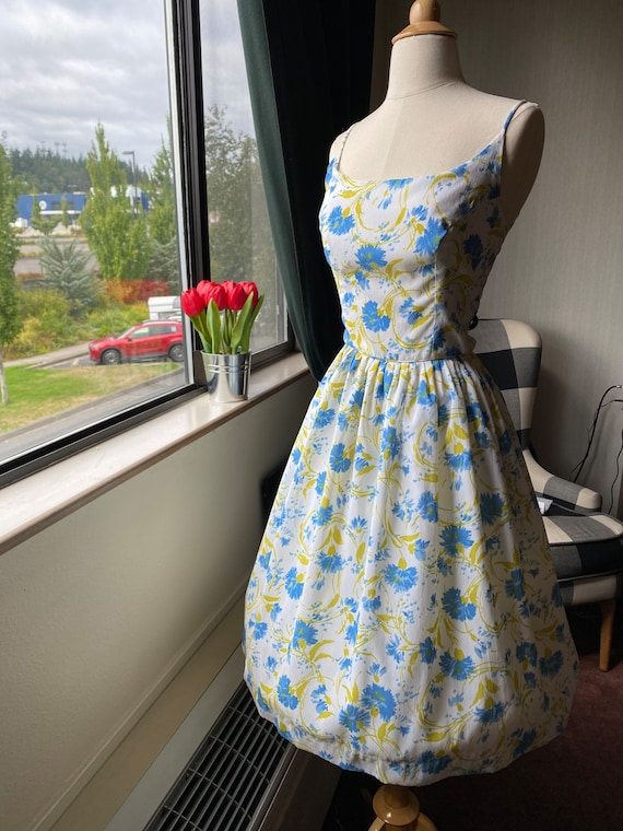1950s Floral Blue and White Sundress Small, 50s S… - image 2