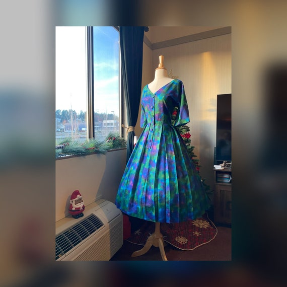 1950s Large Watercolor Day Dress, 50s Rainbow Dres