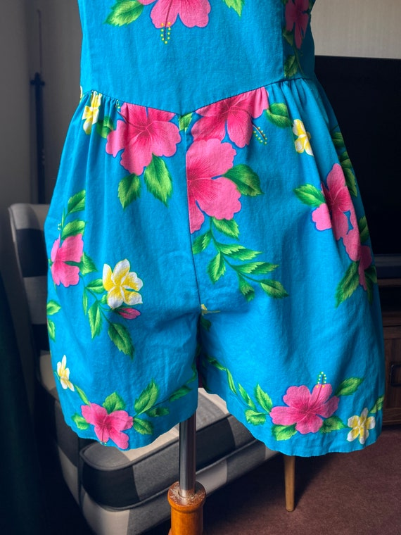 1980s Hawaiian Romper S / M, Floral Romper, Summe… - image 4
