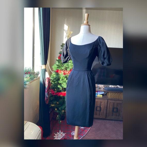 1950s XS Black Wiggle Dres, 50s XS Cocktail Dress