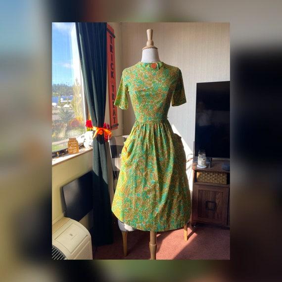 1950s Fall Day Dress Small