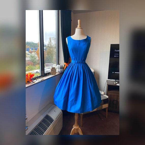 1950s Vibrant Blue Day Dress, 50s Day Dress, Adria