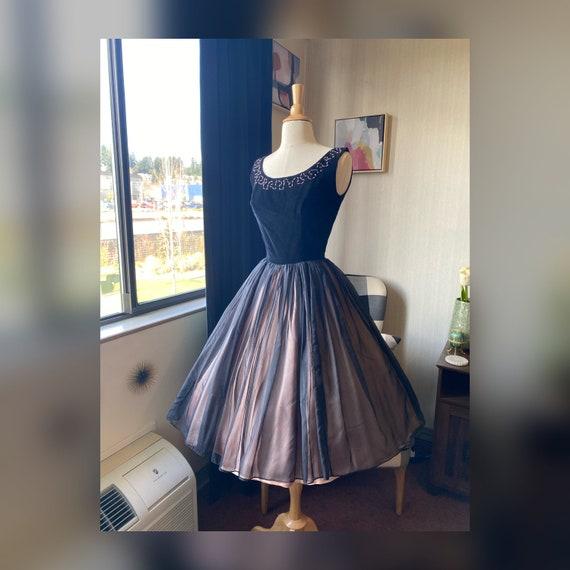1950s XS Black Cocktail Dress, 50s Party Dress, 5… - image 1