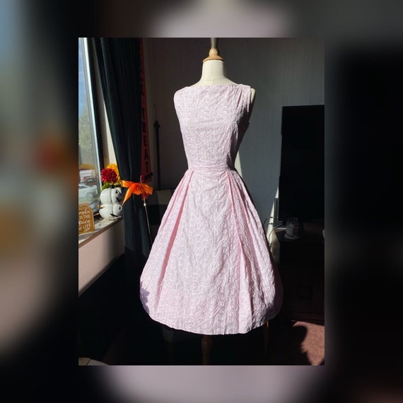 1950s Medium Pastel Pink Dress, 50s Light Pink Dre