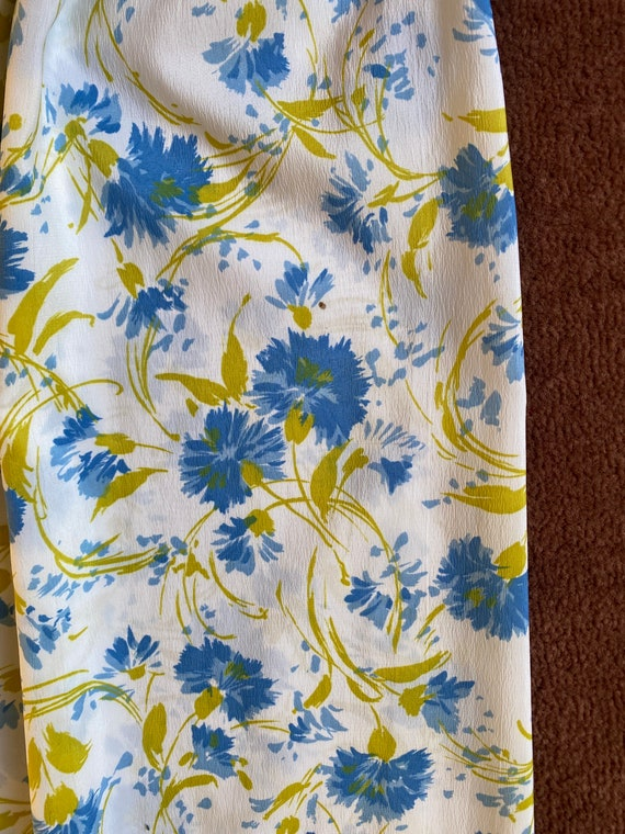1950s Floral Blue and White Sundress Small, 50s S… - image 7