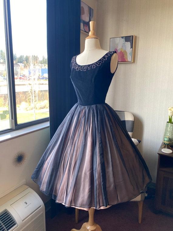 1950s XS Black Cocktail Dress, 50s Party Dress, 5… - image 2