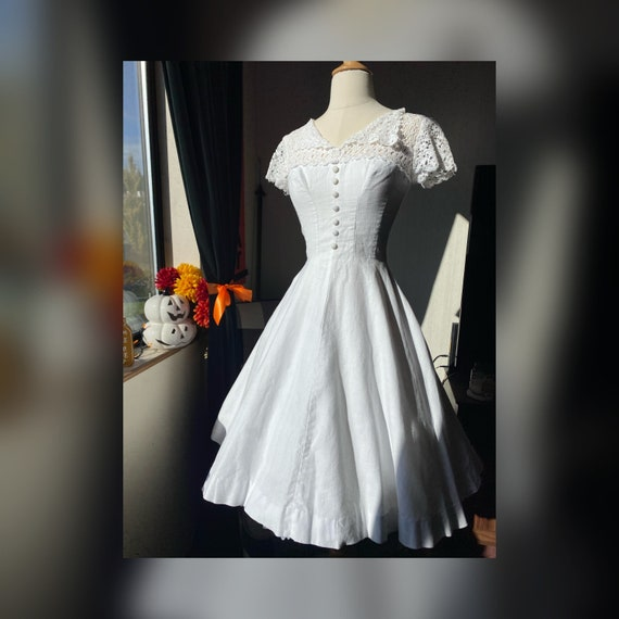 1950's White Day Dress XS