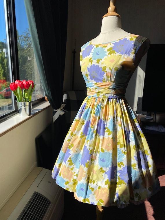 1960s Pastel Floral Dress XS, 60s Floral, 60s Sum… - image 4