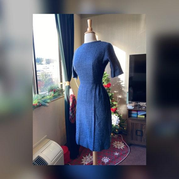 1950s Small Blue Wool Dress, 50s Winter Dress,