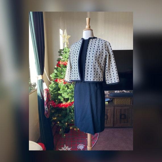 1950s XS Black Wiggle Dress Set, 50s Jonathan Loga