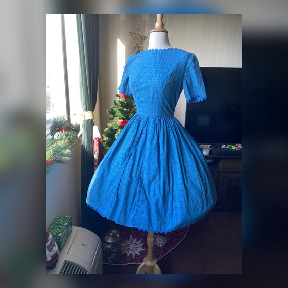 1950s XS Plaid Blue Day Dress, 50s Swiss Dot Day D