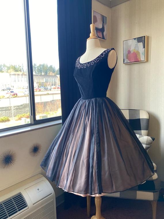 1950s XS Black Cocktail Dress, 50s Party Dress, 5… - image 3