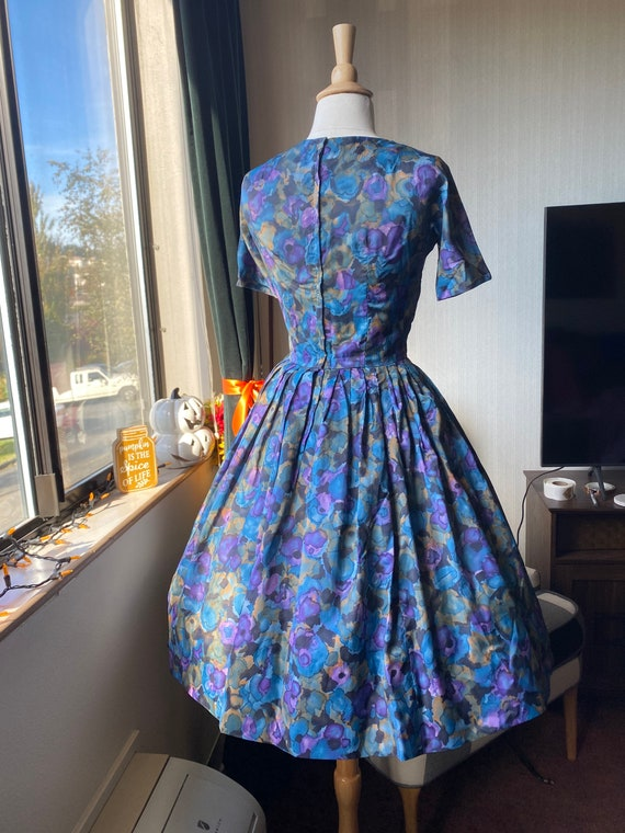 1950s Watercolor Day Dress, Casual Dress 50s - image 5