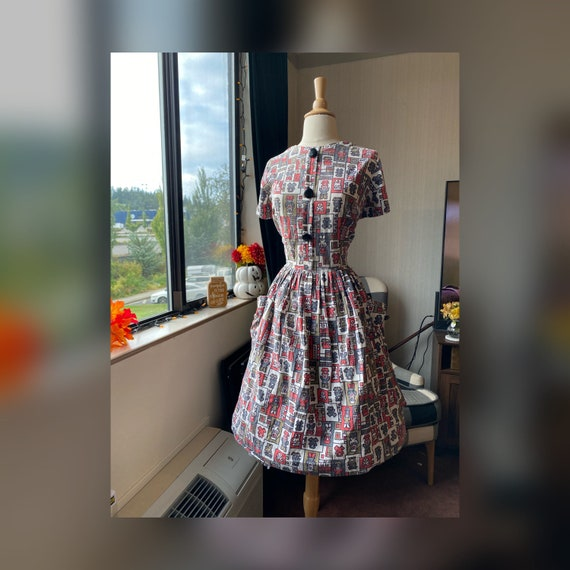 1950s Medium Novelty Print Dress, 50s Day Dress wi