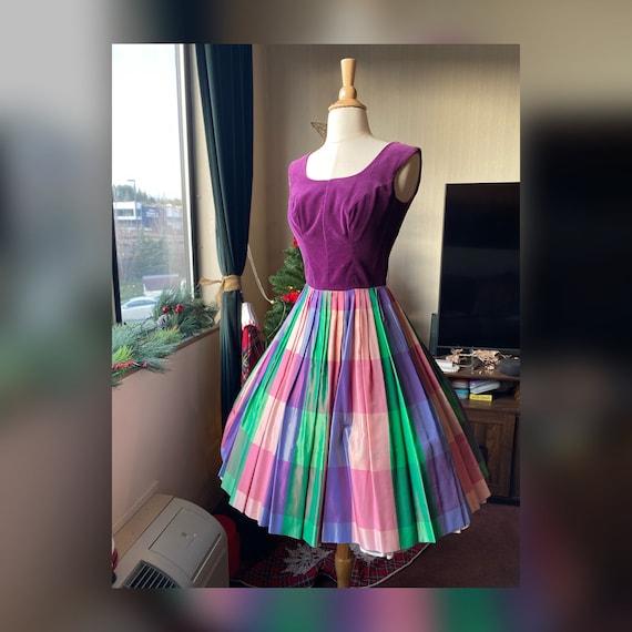 1950s Striped Rainbow Party Dress