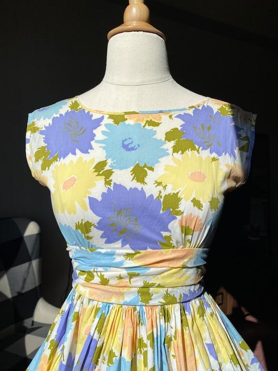 1960s Pastel Floral Dress XS, 60s Floral, 60s Sum… - image 6