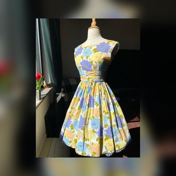 1960s Pastel Floral Dress XS, 60s Floral, 60s Sum… - image 1