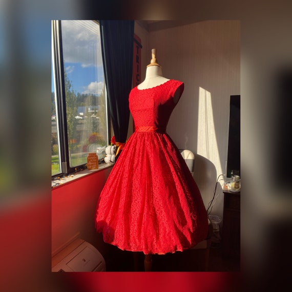1950s Ruby Red Lace Dress