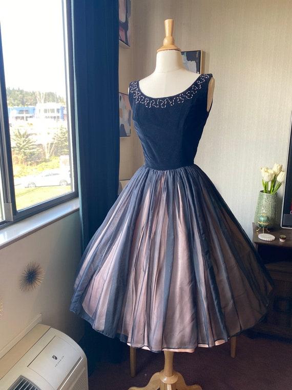 1950s XS Black Cocktail Dress, 50s Party Dress, 5… - image 5