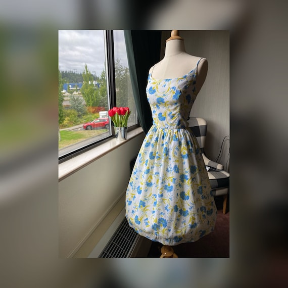 1950s Floral Blue and White Sundress Small, 50s Su