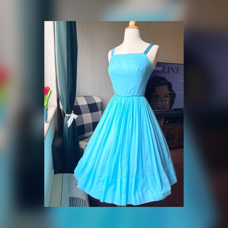 1950s XS Blue Chiffon Dress Aqua 50s Blue Dress 50s Fit and Flare Dress 50s Cocktail Dress