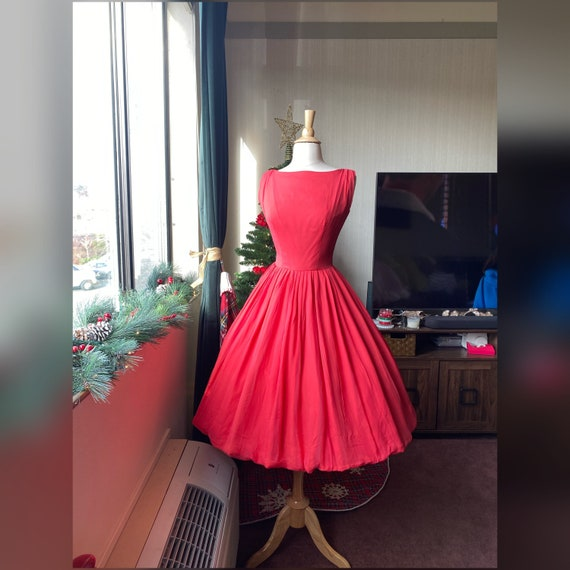 1950s XS Gigi Young Red Chiffon Dress, 50s Cocktai