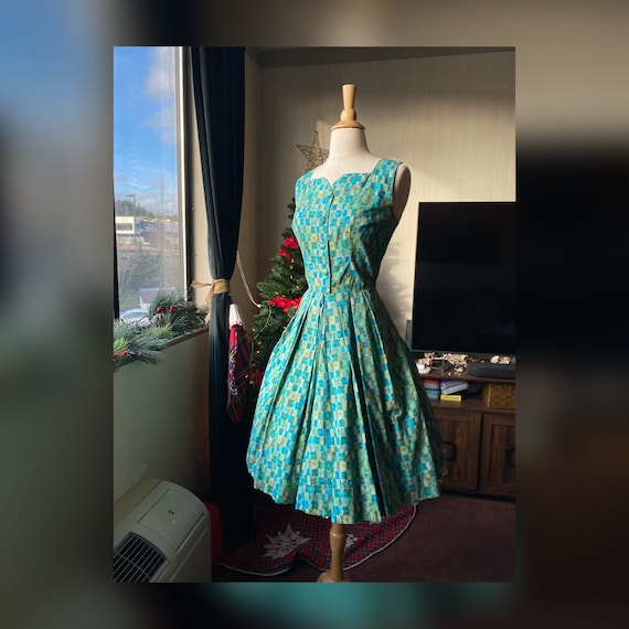 1950s Geometric Blue and Green Day Dress