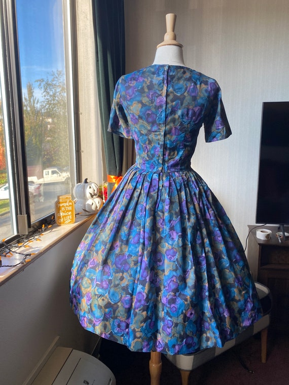 1950s Watercolor Day Dress, Casual Dress 50s - image 4