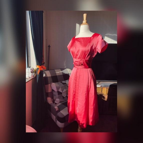1950s XS Pink Satin Dress, 50s Barbie Dress, 50s W