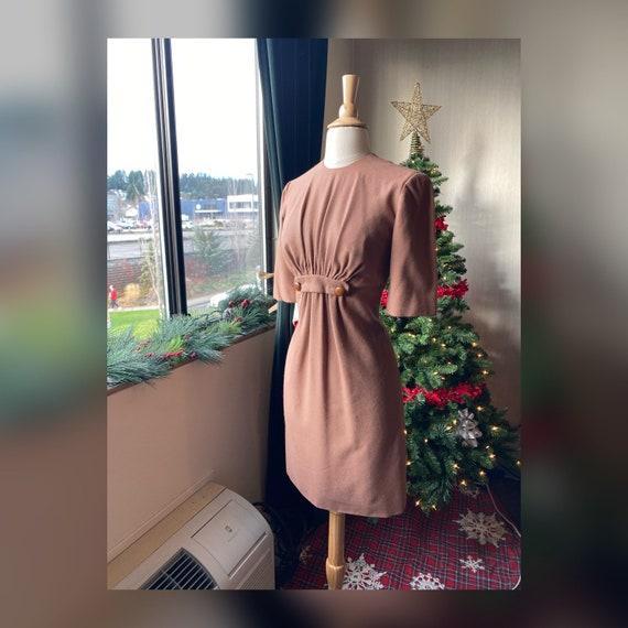 1950s/1960s Small Tan Wiggle Dress and Bolero Set
