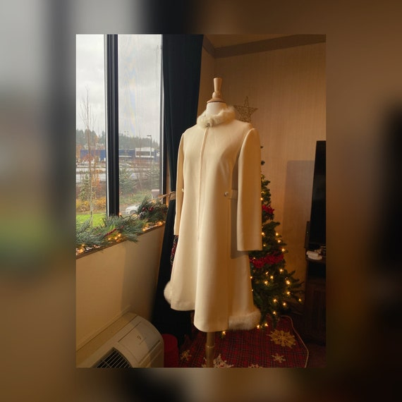 1950s Medium Princess Coat, 50s Beige Winter Coat