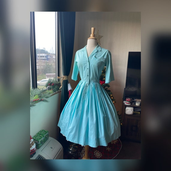 1950s Small Aqua Day Dress, 1950s Blue Shirtwaist