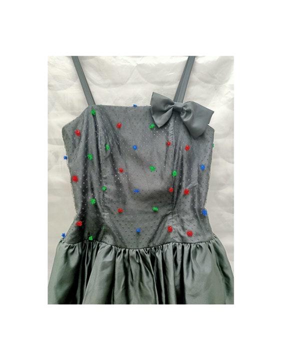 60s black prom dress // ruffles prom dress // bow