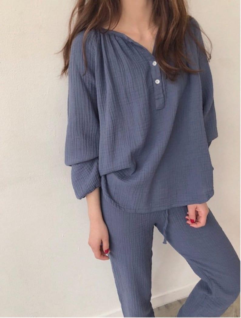 women pajamas pajama tops Gauze cotton pajama set,XS soft pajama stay home pajama comfy pajama winter fall pajama, pajama pants