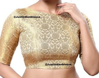 Beautiful Golden Readymade Sari Blouse Saree Blouse Choli Fabric Craft Tunic Top Floral Embroidered Banglori Silk For Women MadeInIndia